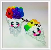 Rainbow Loom Happy Food Series - Snow Cone - FeelinSpiffy - CraftingFantastic The tutorials are on her Youtube page:) Rainbow Loom Bands, Rainbow Loom Charms, Loom Band Charms, Wonder Loom, Rainbow Loom Creations, Crafts For Kids, Arts And Crafts, Happy Foods, Hacks Diy