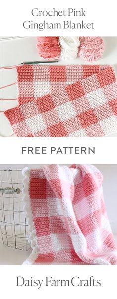 FREE PATTERN Crochet Pink Gingham Blanket by Daisy Farm Crafts