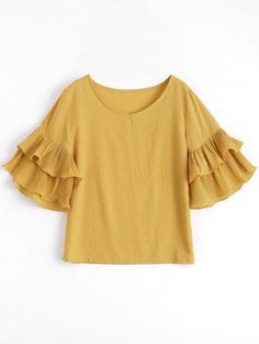 SHARE & Get it FREE | Tiered Flare Sleeve Blouse - GingerFor Fashion Lovers only:80,000  Items • New Arrivals Daily Join Zaful: Get YOUR $50 NOW!
