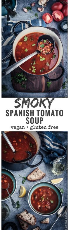 This rustic Smoky Spanish Tomato Soup is packed with vegetables and roasted peppers and spices. Flavourful, speedy and healthy this soup is a great weeknight meal. via @deliciouseveryday