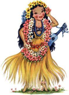 Retro Hawaiian Girl Set of 4 Waterproof Temporary Tattoos
