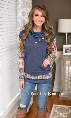 The Way It Should Be Aztec Sleeve Sweater Navy - The Pink Lily Boutique
