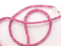 """AAA+++ Genuine Natural Pink Tourmaline Faceted Rondelle stone 18"""" Necklace 3-5mm #GemstoneTopper #Faceted"""