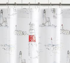 Lighthouse Print Shower Curtain 72 Multi Hooks Fabric Curtains