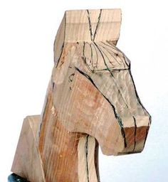 You should now have a fairly accurate shape when viewed from the side and front … – Schnitzerei Wood Carving Designs, Wood Carving Patterns, Woodworking Crafts, Woodworking Plans, Whittling Wood, Tree Carving, Diy Furniture Plans, Horse Sculpture, Horse Head