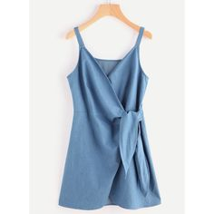 Self Tie Wrap Chambray Cami Dress (130 SEK) ❤ liked on Polyvore featuring dresses
