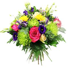 A gorgeously hand-tied bouquet made up with vibrant, fragrant blooms and lush greenery for a rich contrast of colour! It's a summertime standout that deserves to be put on display. Exotic Flowers, Amazing Flowers, Fresh Flowers, White Roses, Pink Roses, Early May Bank Holiday, Hand Tied Bouquet, Same Day Flower Delivery, Bridal Bouquets