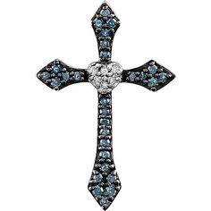 14k White gold Blue and White Diamond Cross and Heart Pendant 1/8 CTW – modernvintagecross