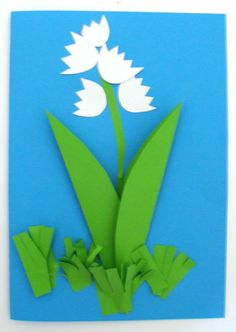 Une carte brin de muguet Diy Paper, Paper Art, Easy Crafts, Crafts For Kids, 1. Mai, Beltane, Mothers Day Crafts, Plantar, Lily Of The Valley