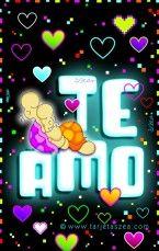 Tarjeta de amor-dos palabras mágicas-Tortugas Abelardo y Eloisa abrazados © ZEA www.tarjetaszea.com