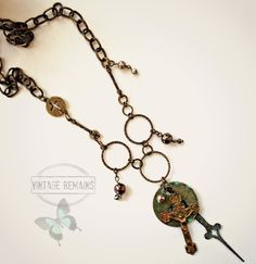 Vintage Remains - Cross, Tag, Clock Hand Necklace