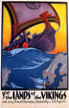 See the Lands of the Vikings - original 1930s vintage travel poster
