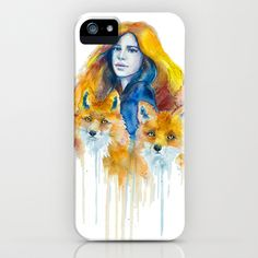 Foxes iPhone & iPod Case by Slaveika Aladjova - $35.00 painting of red headed woman with 2 red foxes