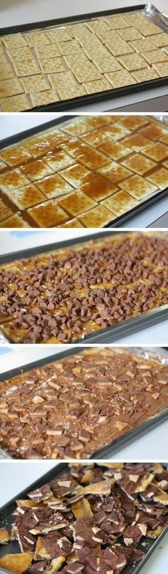 Brickle Ingredients 40 Saltine crackers (one sleeve about) 1 Cup salted butter (don't substitute) 1 Cup brown sugar 1 12 ounce package of chocolate chips 5-6 Heath bars, crunched up for topping See...