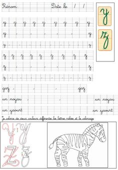 Improve Handwriting, Handwriting Practice, French Language Lessons, French Lessons, Preschool Learning Activities, Preschool Worksheets, Police Cursive Standard, Alphabet Cursif, French Cursive