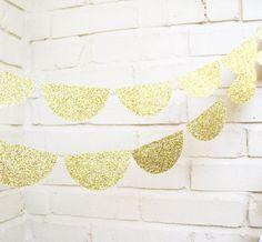 The Glam Scallop Garland, Wedding Garland, Gold, Glitter, Wedding Shower, Baby Shower, Birthday Decoration