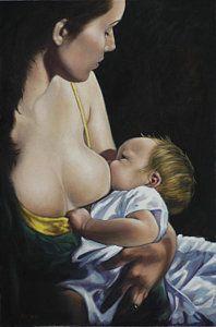 Breast Feeding Painting - Nurturing by Harvie Brown