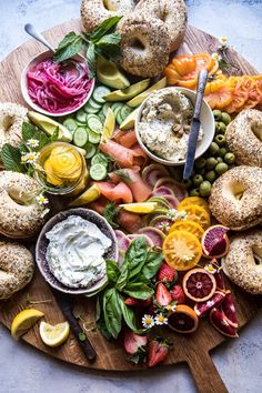 Bagel and Smoked Salmon Bar | halfbakedharvest.com #brunch #spring #mothersday #easter