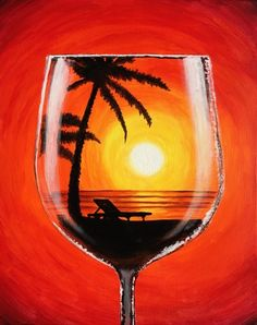 Winey Art combines art instruction and wine drinking. We provide everything needed to create your own paining: the aprons, easels, paint, brushes and canvas. Wine Painting, Summer Painting, Painting & Drawing, Watercolor Paintings, Wine And Canvas, Wine Art, Easy Paintings, Pictures To Paint, Beach Pictures