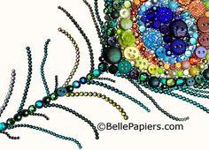 Botón arte del pavo real plumas botón arte & arte por BellePapiers