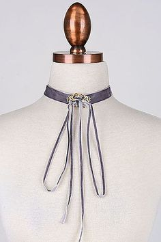 Suede Thin Tie Up With Vintage Pendant Choker.