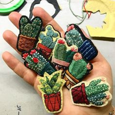 """5,612 Likes, 54 Comments - CREAMENTE • embroidery • (@defnegunturkun) on Instagram: """"A handful of cactus brooches  . . . #cactus #cacti #brooch #embroidery #pin #nature…"""""""
