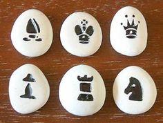 Sandstone pebble chess set