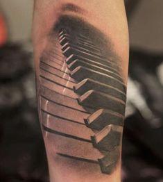 Ultimate And Nice Forearm Awesome Piano Keys Tattoo Design Idea