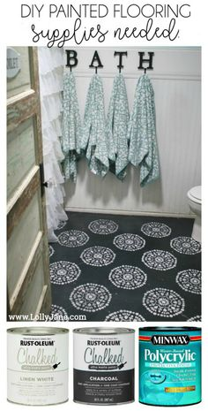 Super affordable bathroom floor makeover solution: how to chalk paint tile floors! So glad I painted my bathroom floors, they look amazing and we spen. Painting Ceramic Tiles, Painting Tile Floors, Painted Floors, Linoleum Flooring, Vinyl Flooring, Kitchen Flooring, Flooring Ideas, Penny Flooring, Dark Flooring