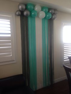 Tiffany blue back drop at baby shower.