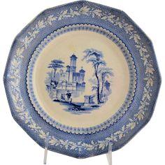 Antique Staffordshire Transferware Plate Light Blue Romantic Water Scene from @antikavenue on @rubylane #Staffordshire #transferware #antiques