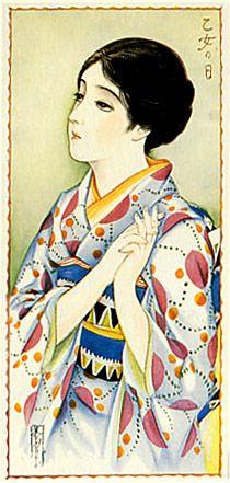 Japan antique art. illustrator / Kasyou Takabatake.   kimono beauty lady. last years of the taisyou period / early Showa period.