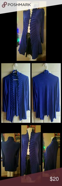 """Blue Cardigan Blue open Cardigan with ruffle type detailing. Stretchy material. 95% Acetate and 5% Spandex. Size chart in last photo. Gently worn. No rips, holes or stains.  Measurements: Inseam length 23.5"""" Sleeve length 23"""" Shoulder to bottom length 29"""" Chico's Sweaters Cardigans"""