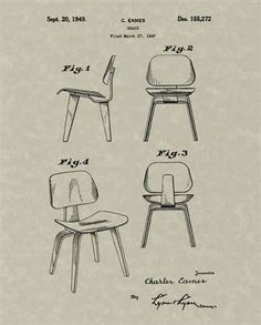 Illustration created from the dcw chair patent may 29 1959 the work of charles ray eames a - Meubles bardi italie ...