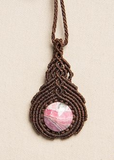 Macrame Rhodochrosite Pendant Inca Rose Necklace by Amonithe