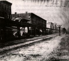 1876 . Ninth ave elevated looking north from 42nd street. New York Architecture Images- Hell's Kitchen History