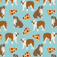english bulldog light blue pizza fabric cute pets pet dog fabric pizzas fabric by petfriendly on Spoonflower - custom fabric