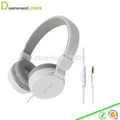 Dreamersandlovers 798 Lightweight Over-Ear Wired HiFi Stereo Headphones with Built-in Mic Comfortable Leather Earphones White
