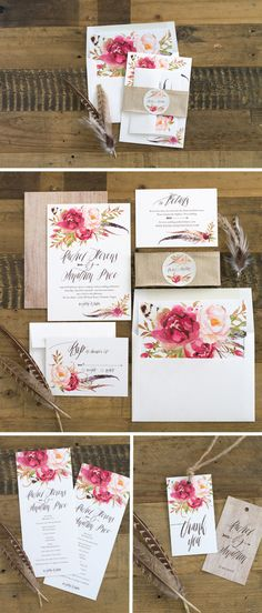 Bohemian Floral Wedding Invitation Suite Would be beautiful with playing card Alice and wonderland
