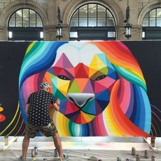 Rainbow thief mural art by okuda san miguel. Installation Street Art, Murals Street Art, Graffiti Art, Street Wall Art, Graffiti Cartoons, Mural Art, School Murals, Art School, Okuda