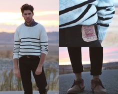 Andrew Jim - Pull & Bear Sweater, Levi's® Jeans, Pull & Bear Boots, Pull & Bear Denim Shirt - ETERNAL ROAD