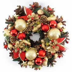 Christmas Wreath Traditional Wreath Handmade by ZielonePalce Christmas Is Coming, Christmas Holidays, Christmas Gifts, Christmas Ornaments, Holiday Wreaths, Holiday Decor, Christmas Table Decorations, Front Door Decor, Ornament Wreath
