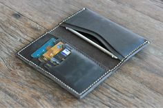 BLACK Distressed Leather iPhone 6 Wallet Case -- Also available for iPhone 5/4/4s - [013]