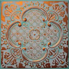 Tin ceiling tile with hand faux finish.