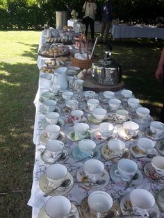 cake table with vintage china