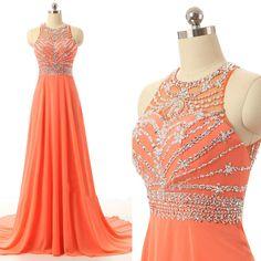 Prom Dresses Long For Teens Orange Chiffon Beads Bodice Pst0169 on Luulla