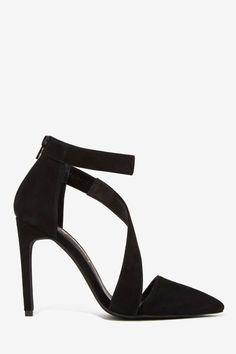 JC black suede heels