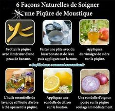 6 façons naturelles de soigner une piqûre de moustique : peau de banane _ bicarbonate de soude _ vinaigre de cidre _ HE de lavande ou de tea tree _ citron _ oignon