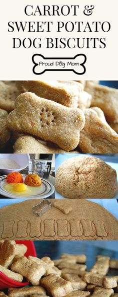 Easy Carrot & Sweet Potato Dog Biscuits. 1/2 cup baked sweet potato, 1/2 cup finely shredded carrots, 1 egg, 3/4 cup water, 3 cups whole wheat flour.