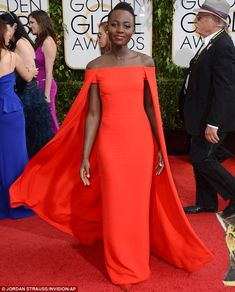Peerless: 12 Years A Slave star Lupita Nyong'o aced her first Golden Globes appearance on Sunday in this stunning Ralph Lauren creation.